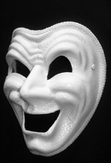 Comedy / Happy full face Crackle mask  (headband or ribbons)